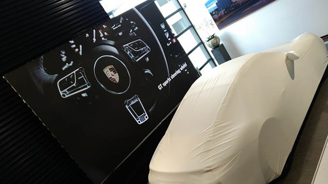 led screen during promotion event porsche