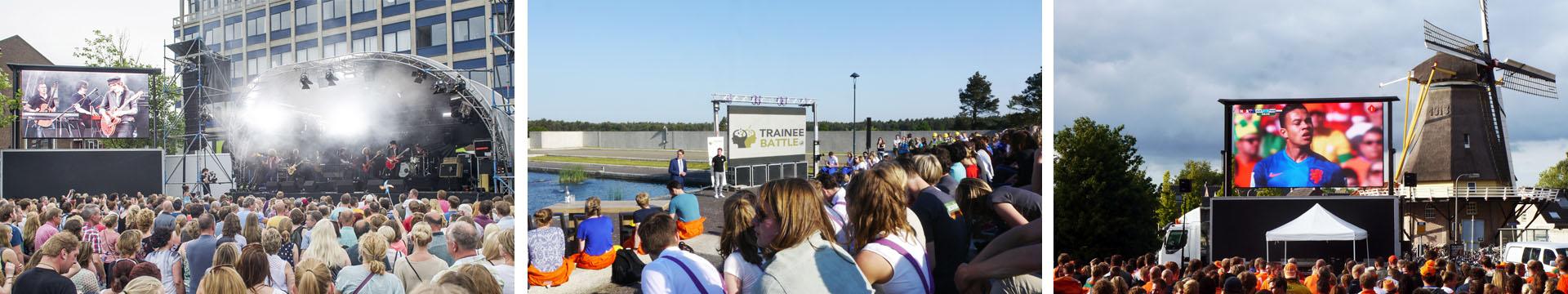 outdoor en mobiele led walls tijdens enk voetbal, concerten en presentaties