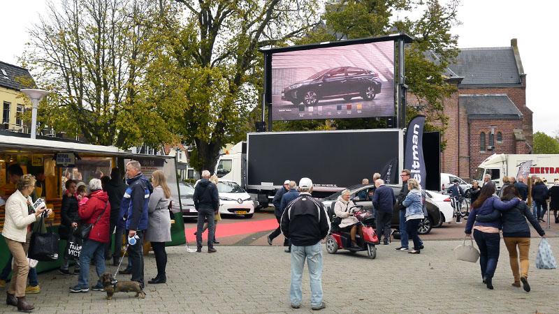 mobiel led scherm en geluid tijdens automodeshow in rijssen